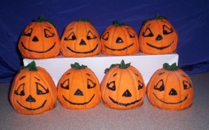 pumpkins purple background